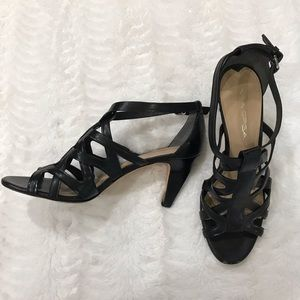 Via Spiga black strappy heels